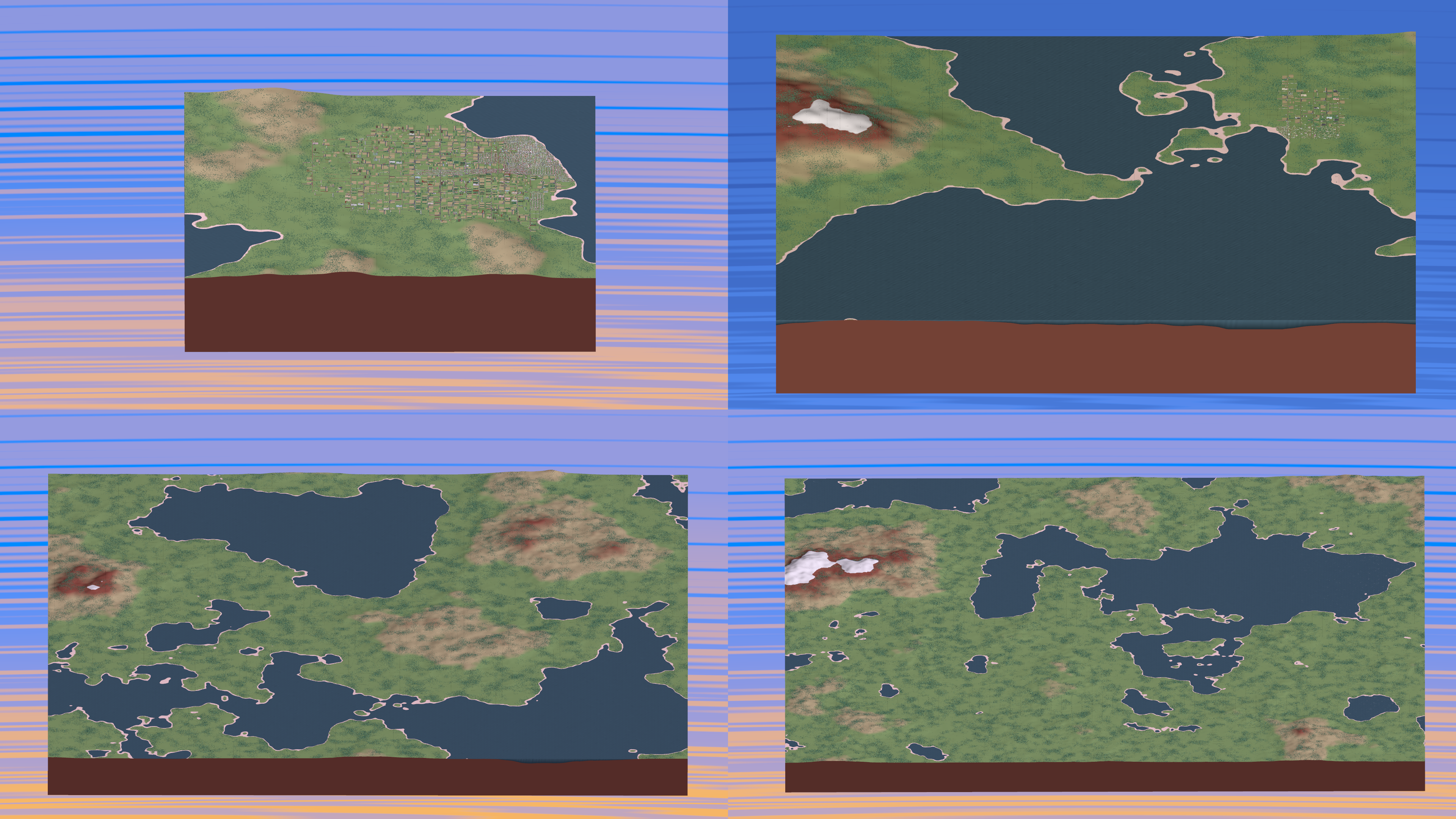 Map sizes compared -- 25x25, 50x50, 100x100, and 125x125