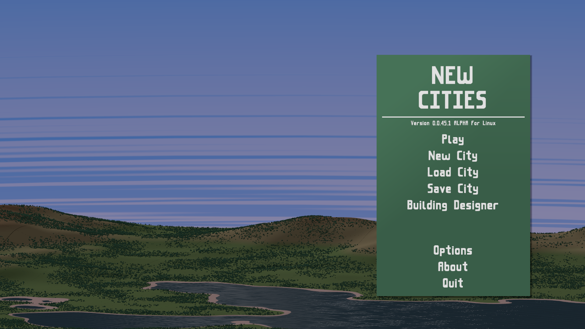 The main menu. I also added clouds to the skybox this week.