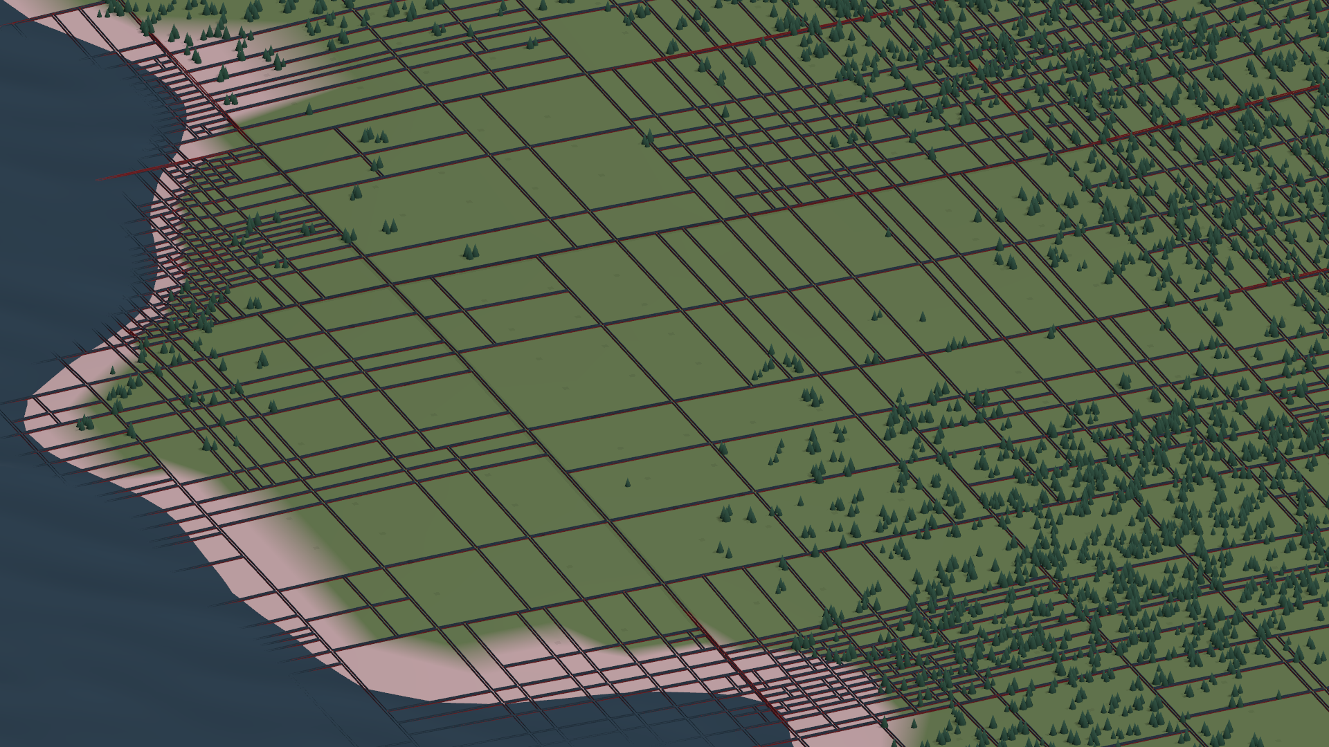 The new recursive terrain rendering, with the tiling outlined.